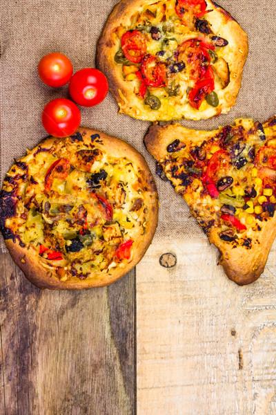 クローズアップ 焼いた スライス ピザ 食品 木材 ストックフォト © fotoaloja