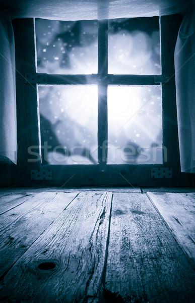 Old rural interior: window table overlooking blurry lights space Stock photo © fotoaloja