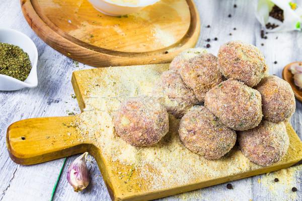 Raw meat balls minced beef rolled breadcrumbs Stock photo © fotoaloja