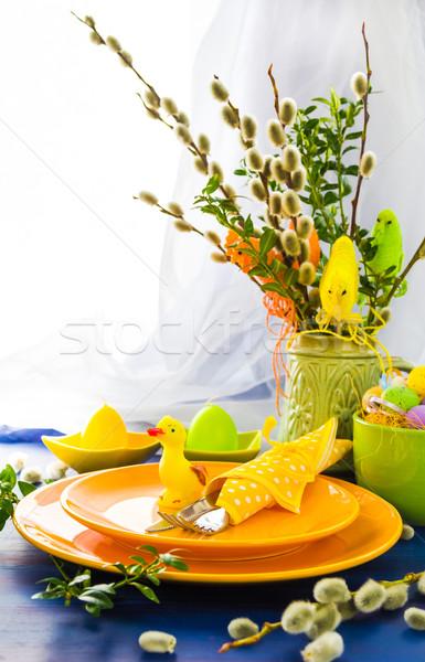 Pascua mesa sauce restaurante cena Foto stock © fotoaloja
