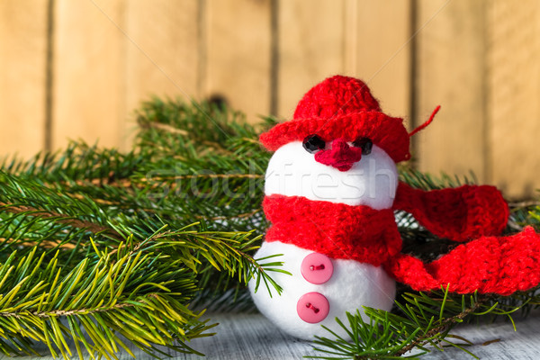 snowman board wooden Christmas winter plush Stock photo © fotoaloja
