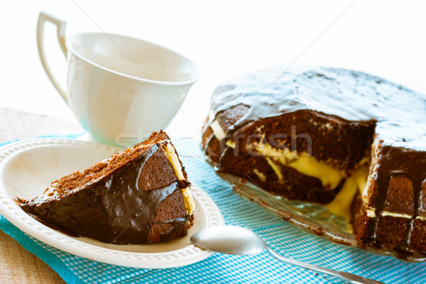 cocoa cake dessert brownie sweet coffee cup Stock photo © fotoaloja