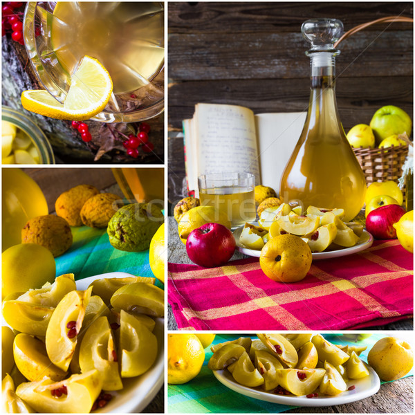 collage tincture quince fruit alcohol intake Stock photo © fotoaloja