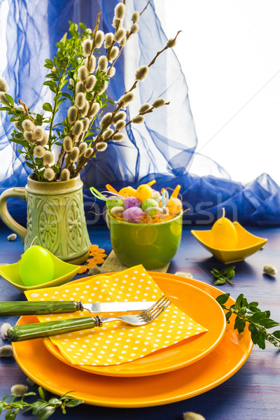 Easter table setting bunch willow catkins Stock photo © fotoaloja