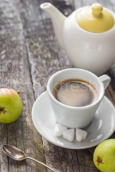 coffee cup black wooden board brown pears white jug Stock photo © fotoaloja