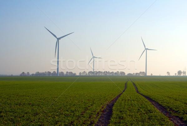 lanscape of wind turbines in poland pomerania Stock photo © fotoaloja