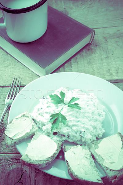 Stock fotó: Túró · kenyér · csésze · friss · tej · klasszikus · étel
