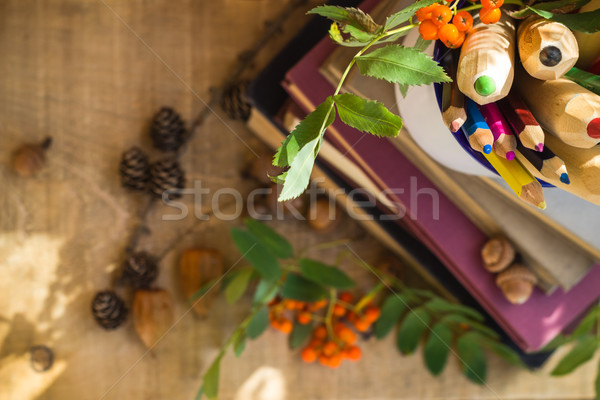 Pencils books concept back school Stock photo © fotoaloja