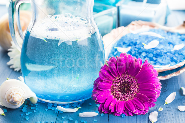 Relaxing spa bath aromatic salt shells flowers Stock photo © fotoaloja