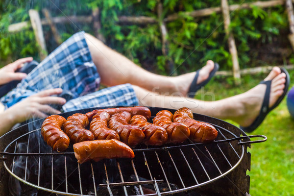 Garden party roasted sausages grill Stock photo © fotoaloja
