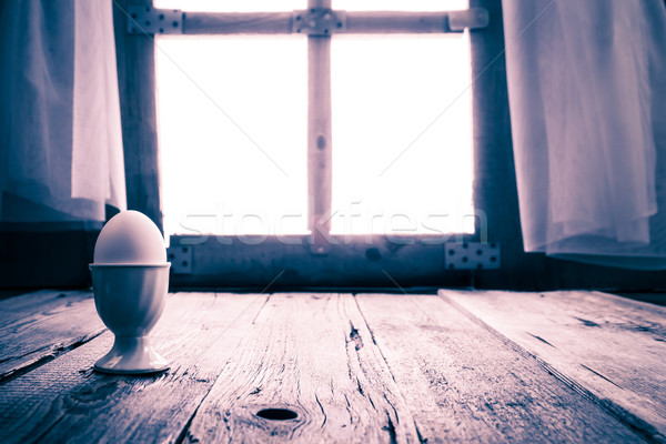 Old kitchen table rural cottage morning egg Stock photo © fotoaloja