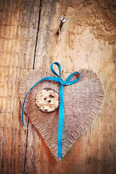 Décoration bois tissu coeur mariage résumé Photo stock © fotoaloja
