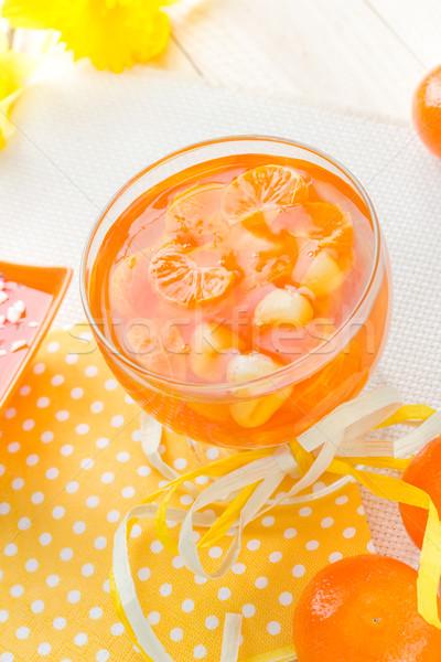 Gustoso frutta gelatina fette arancione vetro Foto d'archivio © fotoaloja