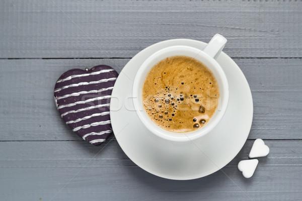 San Valentín taza café terrones de azúcar corazón amor Foto stock © fotoaloja