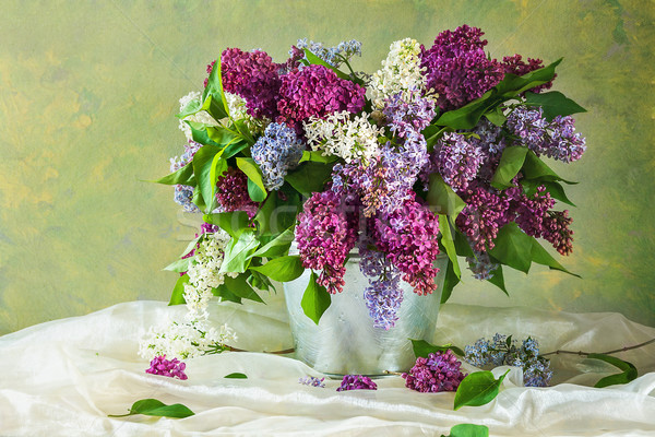 Still life bouquet fleurs printemps bois nature Photo stock © fotoaloja