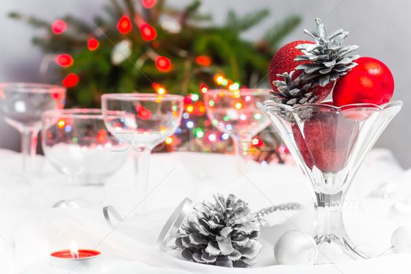 Stockfoto: Christmas · kerstmis · tabel · decoraties · licht