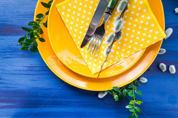 Пасху таблице киска ива ресторан обеда Сток-фото © fotoaloja