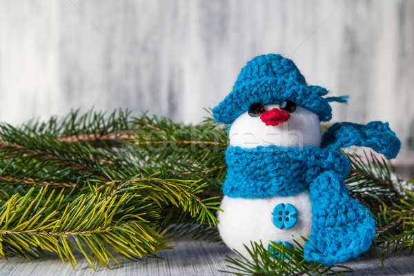snowman board wooden Christmas winter plush Stock photo © fotoaloja