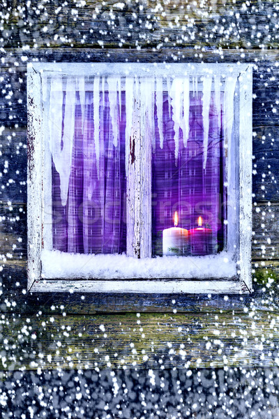 window wall Christmas lighted candles Stock photo © fotoaloja