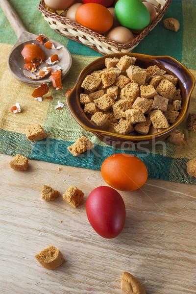 Csendélet színes húsvéti tojások zsemlekocka húsvét fa Stock fotó © fotoaloja