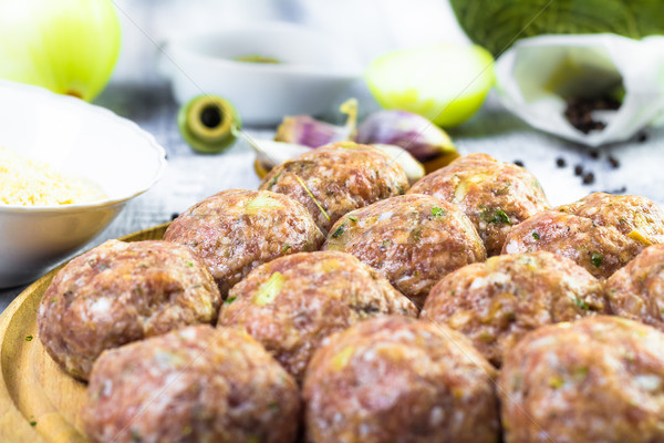 Stock photo: Raw meat balls minced beef prepared roll breadcrumbs