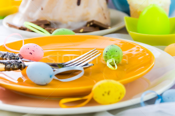 Vajilla una persona Pascua mesa huevo restaurante Foto stock © fotoaloja