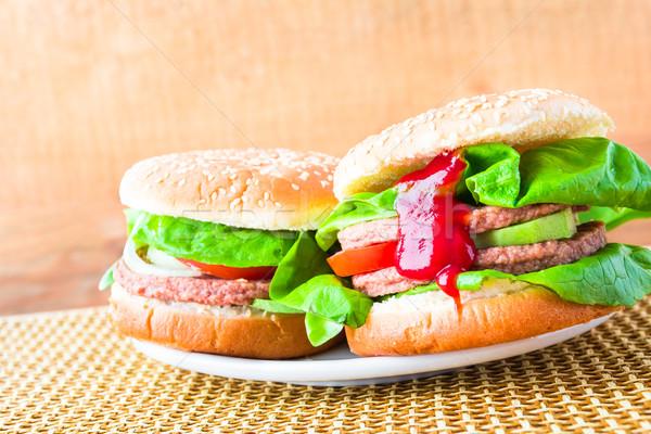 вкусный свежие салата кетчуп таблице Сток-фото © fotoaloja