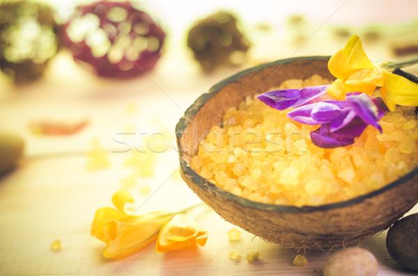 Spa sale pietre zen benessere fiore Foto d'archivio © fotoaloja