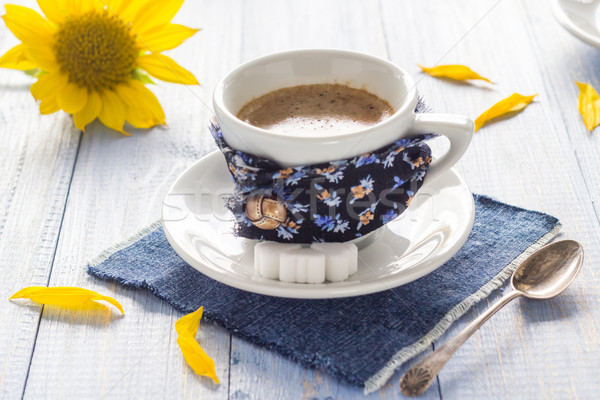 coffee cup black wooden board brown white milk sunflower Stock photo © fotoaloja