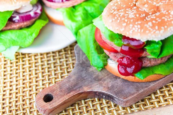 ハンバーガー ケチャップ まな板 肉 脂肪 ストックフォト © fotoaloja