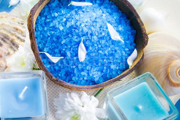 スパ 塩 芳香族の キャンドル 表 花 ストックフォト © fotoaloja