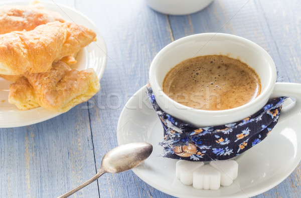 coffee cup black wooden board brown white milk croissants Stock photo © fotoaloja