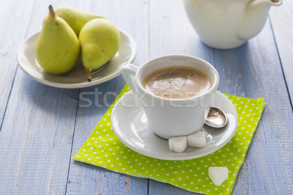 coffee cup black wooden board brown pears white jug milk Stock photo © fotoaloja