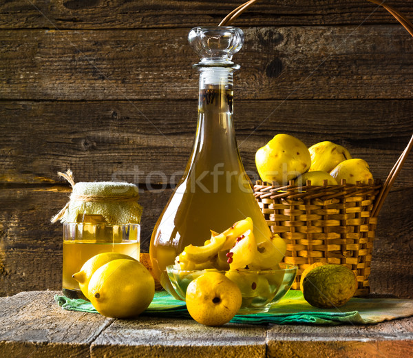 alcohol quince liqueur sliced fruit prepare wooden setting Stock photo © fotoaloja