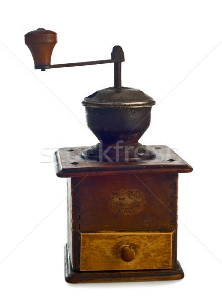 Eski kahve öğütücü yalıtılmış beyaz arka plan Stok fotoğraf © fotoaloja