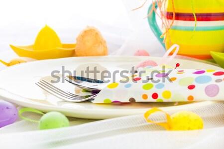 Cutlery wrapped napkin Easter table Stock photo © fotoaloja