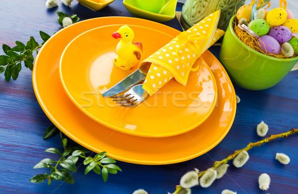 Easter table setting yellow duck Stock photo © fotoaloja