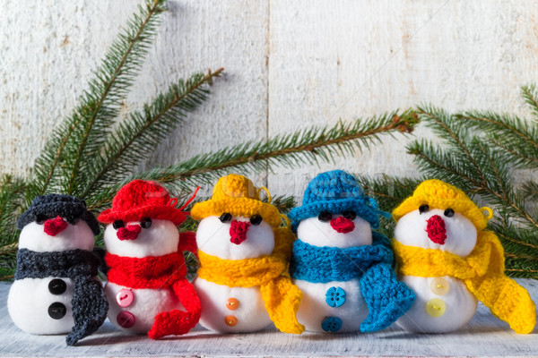 snowmen board wooden Christmas winter plush team family Stock photo © fotoaloja