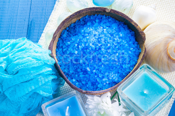 Spa zout aromatisch kaarsen tabel bloem Stockfoto © fotoaloja