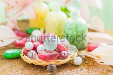 Fürdő fürdik természetes ízek virág test Stock fotó © fotoaloja