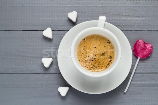 Taza café dulces corazón pirulí Foto stock © fotoaloja