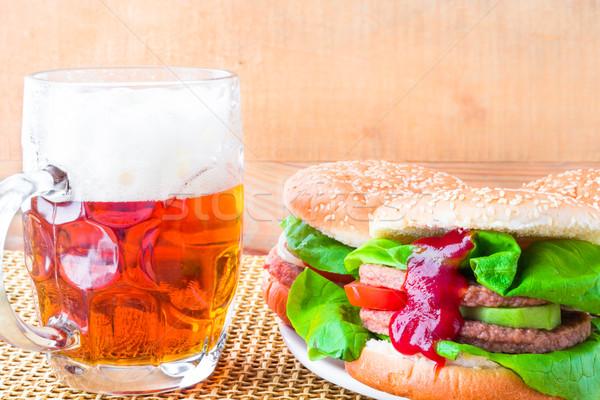homemade grilled hamburger cold beer Stock photo © fotoaloja