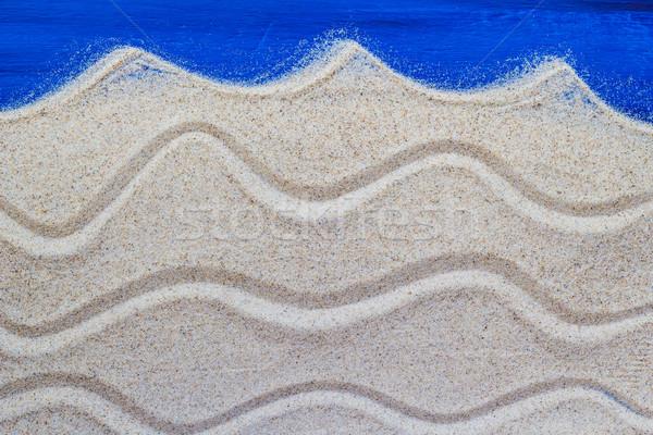 Marine background sand spilled wooden table Stock photo © fotoaloja