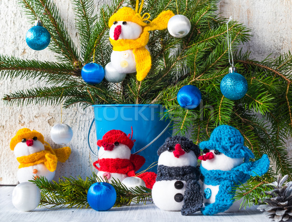 Stockfoto: Boord · houten · christmas · winter · pluche · team