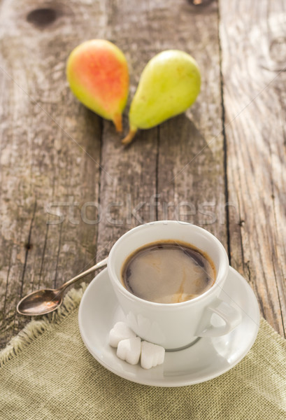 coffee cup black wooden board brown pears white Stock photo © fotoaloja