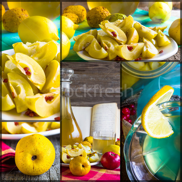Stock photo: Collage tincture quince fruit apple alcohol intake