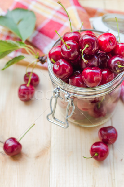 Summer fruits closeup cherries jar processed Stock photo © fotoaloja