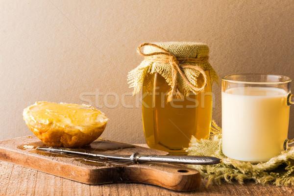 milk roll honey bread food vintage Stock photo © fotoaloja