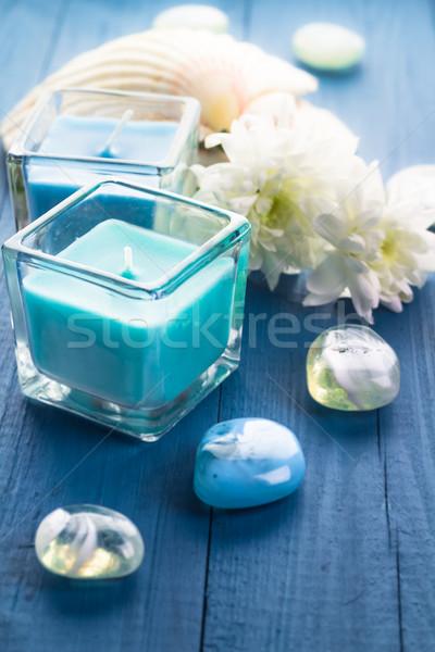 Zen pietre aromatico candele legno fiore Foto d'archivio © fotoaloja