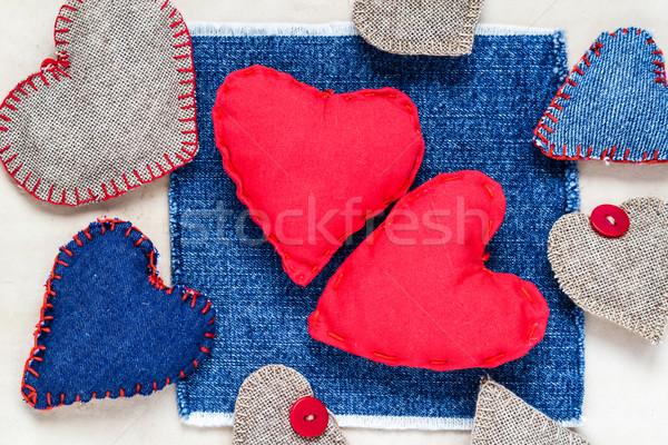 El yapımı kalpler Eski kağıt sevmek sanat Stok fotoğraf © fotoaloja